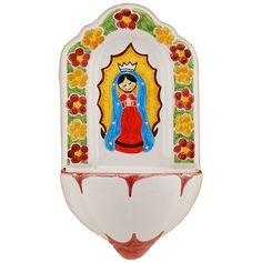 Ceramic Holy Water Font- Our Lady of Guadalupe