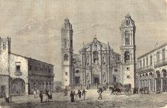 Antique print cathedral Havanna Havana Cuba Habana 1860