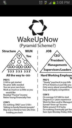 *****PYRAMID SCHEME?*****  J.O.B. vs. WakeUpNow! Now, I am an educated individual and if I had to make an educated decision about which pyramid I would choose to participate in, I would definitely choose WUN. Why would You choose to be at the bottom when You can start from the TOP! A JOB looks like a scheme to me. You Make The Call!!  #LuxuriousLife101 #WakeUpNow #WUN #YourJobIsAPyramid