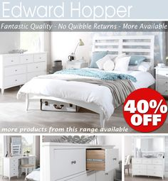 EDWARD HOPPER White furniture, bedside table, chest of drawers, bed &moreQUALITY