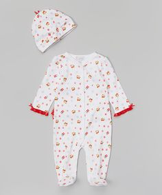 Look at this Quiltex White & Red Owl Snowflake Ruffle Footie & Beanie on #zulily today!