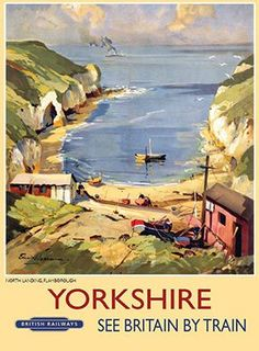 BR (ER) Vintage Travel Poster by Edward Wesson Yorkshire, North Landing, Flamborough. BR (ER) Vintage Travel Poster by Edward Wesson Posters Uk, Train Posters, Railway Posters, Online Posters, Poster Prints, Art Prints, Beach Posters, British Travel, National Railway Museum