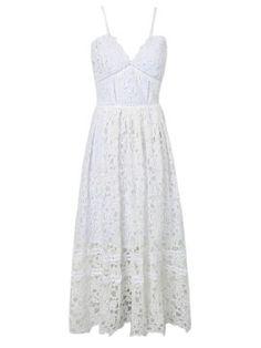 Shop White Spaghetti Strap Crochet Lace Midi Dress from choies.com .Free shipping Worldwide.$43.99