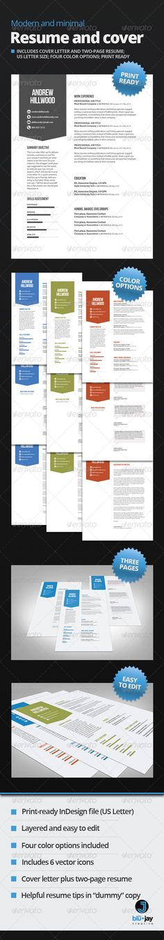 Buy Modern and Minimal Resume and Cover Template by blujaycreative on GraphicRiver. Modern and Minimal is a sleek resume design with eye-catching appeal and just enough white space to let your credenti. Cover Letter Template, Letter Templates, Print Templates, Resume Design Template, Resume Templates, Design Resume, Typography Design, Lettering, Modern Resume