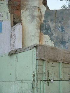 old walls and closed-up chai stand