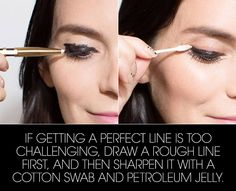 To avoid globs of jelly on your eyelid, wipe the swab on the back of your hand after dipping it in. (And, uh, you will probably need a little help from makeup remover pre-jelly if you accidentally cover your entire lid with eyeliner. Perfect Eyeliner, Best Eyeliner, How To Apply Eyeliner, Winged Eyeliner, Pencil Eyeliner, Eyeliner Hacks, Black Eyeliner, Eyeliner Ideas, Eye Brows