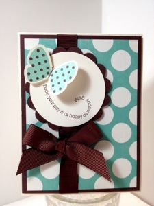 Stampin up butterfly with polka dots card. Simple and fabulous
