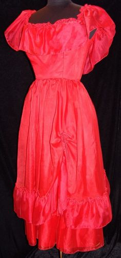 Vtg Dress Womens 8 Red Ruffle Party Tea Cocktail 1980s Round Neck Ruffles #Unbranded