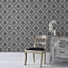 Graham & Brown 56 sq. ft. Black and Gray Jacquard Wallpaper-20-857 - The…