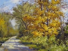 Along a Path on a Fall Day by Andrew Orr Oil ~ 12 x 16