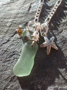 Scottish Seaglass Necklace with a Czech Glass by byNaturesDesignCL, £16.00