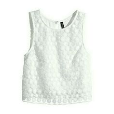 "White Sleeveless Lace Crochet Top | Crop Tank NWOT. Brand new, never worn, mint condition! Short, sleeveless top in woven fabric with a lace front section and a covered button at the back of the neck.  * Approximately 19.5"" top of shoulder to hem  ***PRICE IS FIRM***  ❌TRADES ❌PAYPAL H&M Tops"