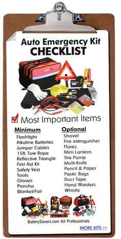 Checklist For Building a Auto Emergency Kit. Plus the actual supplies to build your first roadside kit.....