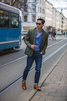 Blazer + striped dress shirt + cuffed jeans + double monk strap shoes