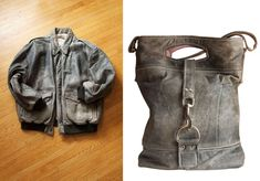 Re-purposed leather jacket to shopper