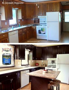General Finishes Java Gel Stain does it again!  Joyously Domestic, http://www.joyouslydomestic.com/, gave their kitchen an overhaul and it looks fantastic!  For expert tips on using gel stain to refinish your cabinets, check out this video, http://bit.ly/1nfGBcY