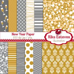 New Year Paper - Digital Clipart.  Decorated in traditional silver and gold.  Would accent a new years party very well, or create special memories with a scrapbook.