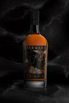 Starward began with a simple vision: offer the world a modern whisky unshackled from tradition. This whisky is the culmination of nine years of research and development. Real gold has been applied direct to the bottle! Liquor Drinks, Beverages, Whiskey Bottle, Vodka Bottle, Beverage Packaging, Label Design, Contemporary, Modern, Whisky