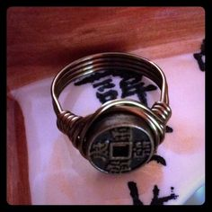 Good Luck Ring Bronze Asian Good Fortune Coin Handwrapped with Bronze Wire! Size 7 or Custom Size available Jewelry Rings
