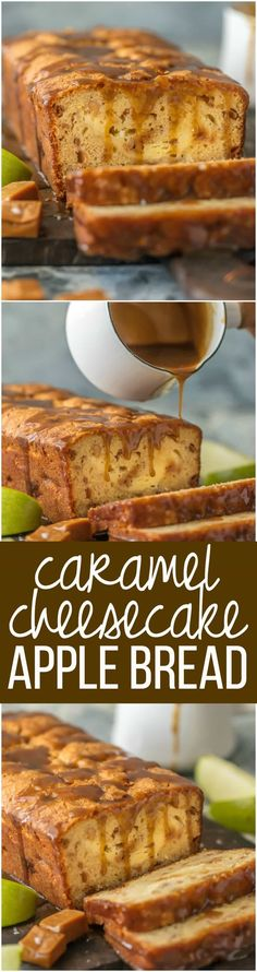 This CARAMEL CHEESECAKE STUFFED APPLE BREAD is a must make for Fall and the holidays. This moist apple bread is more like a chunky apple cake, stuffed with real apples, caramel pieces, and caramel cheesecake. OBSESSED. via @beckygallhardin