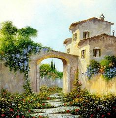 Watercolor Landscape, Landscape Art, Landscape Paintings, Watercolor Paintings, Greece Painting, Tuscany Landscape, Italian Paintings, Cottage Art, Garden Painting