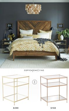 Love the navy and light look for a master bedroom; West Elm Terrace Nightstand Love the bed frame Dream Bedroom, Home Bedroom, Bedroom Furniture, Bedroom Decor, Modern Bedroom, Bedroom Ideas, Cheap Furniture, Dark Master Bedroom, Bedrooms