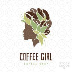 Exclusive Customizable Logo For Sale: Coffee girl | StockLogos.com