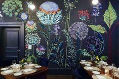 | Flower Mural, Mural Ideas, Wall Ideas, Garden Mural, Painted Wall Murals, Wall Mural Painting, Mural Wall, Wall Paintings, Wall Decor