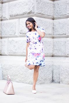 Love_Playiing_Dressup, Shein, floral dress, rose gold satchel, henri bendel, ootd, what to wear to office, corporate dress code, girl boss, smile, white pumps, slimming dress, petite, boston blogger, extrapetite, most pinned photo, street style , indian blogger, henri bendel rose gold bag