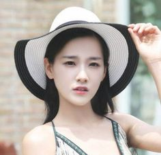 4ade830d221 Black and white color block straw hat for ladies UV summer bow wide brim hat