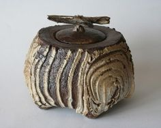 Bark box, thrown and hand built, wood fired, ht 15cm, 2013