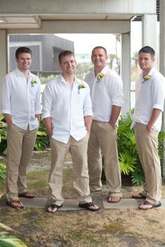 This is what I picture for the men, except the groom in lavender shirt and shorts instead of pants