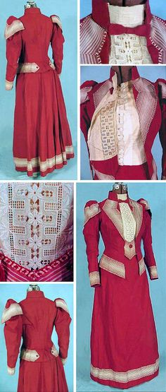 Raspberry red linen summer ensemble, ca. 1890. Mary Quite Contrary