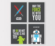 Star Wars Wall Art, Star Wars Printables, Star Wars Decor, May the Force Be With You, Yoda Art, R2D2, Lightsaber Print, Instant Download