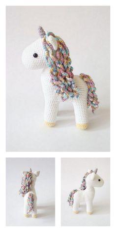 Crochet Unicorn Pattern Free, Crochet Elephant Pattern, Crochet Amigurumi Free Patterns, Crochet Animal Patterns, Stuffed Animal Patterns, Crochet Pony, Crochet Horse, Baby Girl Crochet, Crochet Crafts