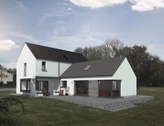 Bungalow Renovation, Farmhouse Renovation, Style At Home, House Designs Ireland, Bungalow Haus Design, Modern Bungalow, Dormer House, L Shaped House, Rural House