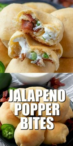 Weight Watchers Recipes Discover EASY JALAPENO POPPER BITES These Jalapeño Popper Bites are slightly addictive but so easy. Crescent rolls jalapeños cream cheese and bacon. The perfect shareable appetizer! Finger Food Appetizers, Yummy Appetizers, Appetizers For Party, Cream Cheese Appetizers, Appetizers For Christmas, Cresent Roll Appetizers, Breakfast Appetizers, Cream Cheese Wontons, Pinwheel Appetizers