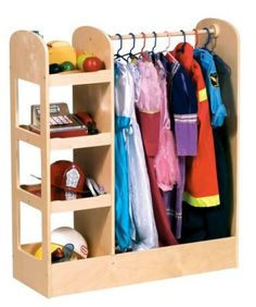 "See and Store Dress Up Center Natural is great for the classroom, nursery schools and therapy clinics. It features three storage units on one side, a 1/2"" diameter hardwood dowel for hanging costumes,"