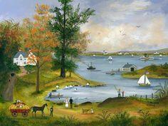 "Jan Munro (21st Century Folk Artist) Mixed Media on Masonite ""Autumn on Nantucket Sound"", signed lower right. 16 in. x 12 in."