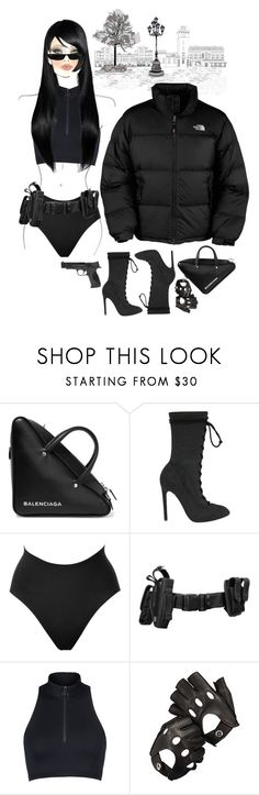 """""""Looking 4 it"""" by johnrefos ❤ liked on Polyvore featuring The North Face, Balenciaga, Yeezy by Kanye West, SPANX, STELLA McCARTNEY, M.A.C, Aspinal of London and Smith & Wesson"""