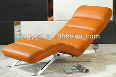 chrome/stainless steel frame orange/yellow/white leather chaise lounge $1~$150