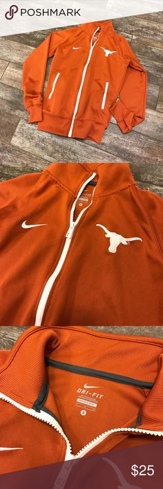 Nike, Dri-Fit  Longhorn UT jacket zip front Like new. Great styling with contrasting zippers. Hook 'Em! Nike Jackets & Coats