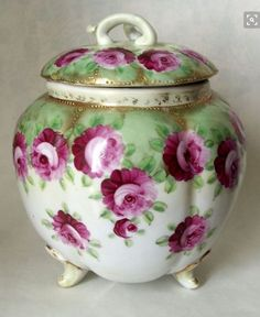 Nippon Porcelain Biscuit Jar with Roses