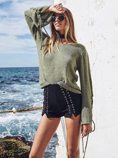 ilstile 2017 Fashion Women Long Sleeve Lace Up Casual Loose Sweater Autumn  Winter O-Neck Knitted Basic Tops Pullovers Size S-XL. 653263dc1
