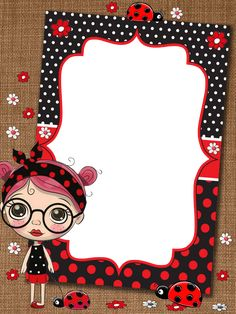 School Frame, Cute Cartoon Girl, Borders And Frames, Journal Cards, Classroom Decor, Ladybug, Cute Pictures, Iphone Wallpaper, Hello Kitty