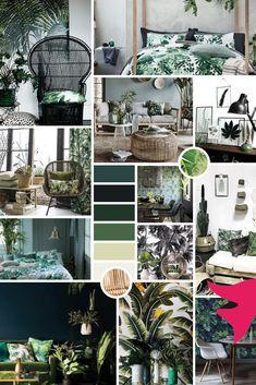 Tropical decor: inspiration and atmosphere - - Tropical Interior, Tropical Decor, Home Interior, Interior Design Living Room, Deco Jungle, Deco Originale, House Plants Decor, Style Deco, Colour Schemes