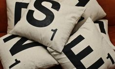 Scrabble pillow, a neat idea for throw pillows to scatter along the living room couch.