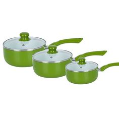 3 Piece Olive Pan Set - A stunning set of 3 Olive Ceramic Coated saucepans, providing a vibrant splash of colour to any kitchen. £50. #kitchen