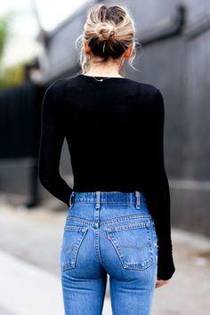 High waist + black long sleeve.