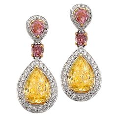 3.17 Carat GIA Certified Diamond Gold Earrings | See more rare vintage Drop Earrings at https://www.1stdibs.com/jewelry/earrings/drop-earrings